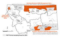 Montana CWD Management areas. Graphic courtesy Montana Fish, Wildlife & Parks.
